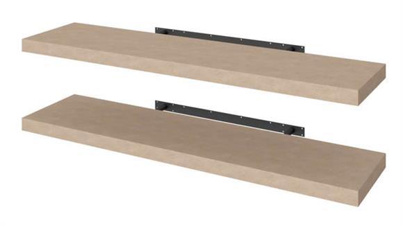 """Shelving Bestar 2 Piece 12"""" x 48"""" Lightweight Floating Shelf Set"""