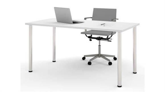 "Computer Tables Bestar 30"" x 60"" Table with Round Metal Legs"