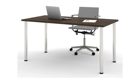 """Computer Tables Bestar 30"""" x 60"""" Table with Round Metal Legs"""