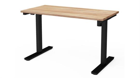 "Adjustable Height Tables Bestar 24"" x 48"" Electric Height Adjustable Table with Solid Wood Work Surface"