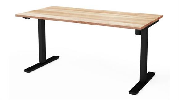 "Adjustable Height Tables Bestar 30"" x 60"" Electric Height Adjustable Table with Solid Wood Work Surface"