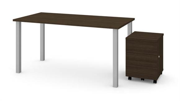 """Computer Tables Bestar 30"""" x 60"""" Table with Square Metal Legs and Mobile Filing Cabinet"""