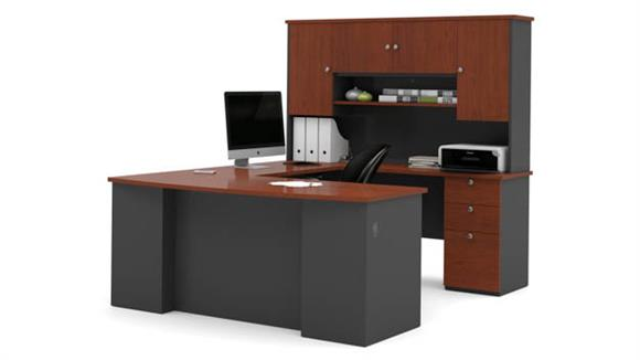 U Shaped Desks Bestar U Shaped Desk with Hutch