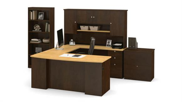 U Shaped Desks Bestar U Shaped Desk with Lateral File and Bookcase