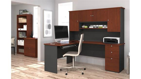 L Shaped Desks Bestar L Shaped Desk with Lateral File and Bookcase