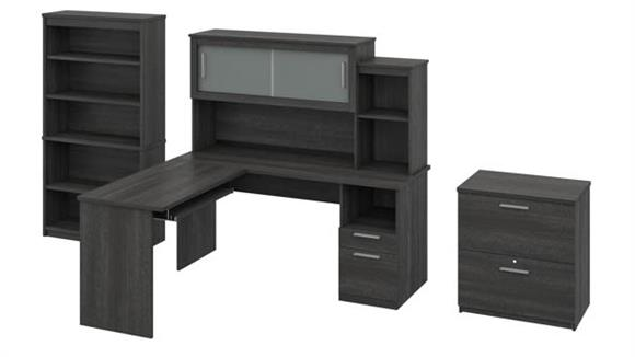 L Shaped Desks Bestar L-Shaped Desk with Hutch, Lateral File Cabinet and Bookcase
