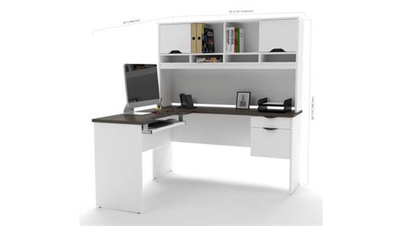 L Shaped Desks Bestar L Shaped Desk with Lateral File & Bookcase