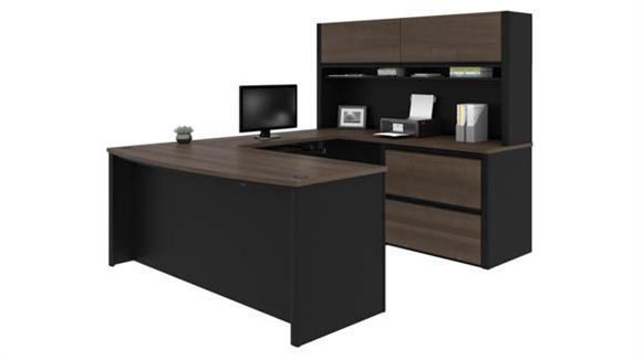 "U Shaped Desks Bestar 72""W x 93""D U-Shaped Workstation with Hutch"