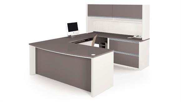 U Shaped Desks Bestar Bow Front U Shaped Desk with Hutch 93863