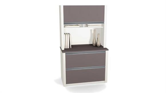 File Cabinets Lateral Bestar 2 Drawer Lateral File with Hutch