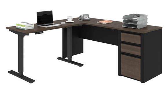 """Adjustable Height Desks & Tables Bestar 72""""W x 72""""D Height Adjustable L-Shaped Desk"""
