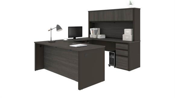 "U Shaped Desks Bestar 72""W x 93""D U-Shaped Workstation with 2 Pedestals"
