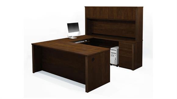 U Shaped Desks Bestar U Shaped Desk with Hutch 99853