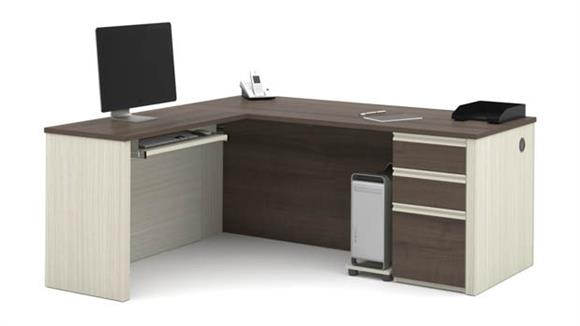 L Shaped Desks Bestar L Shaped Workstation with One Pedestal