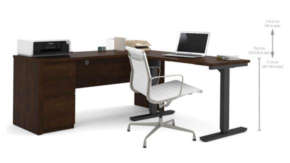 L Shaped Desks Bestar L Desk with Electric Height Adjustable Table