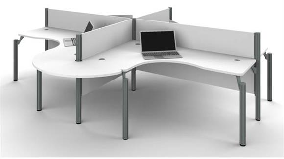 Workstations & Cubicles Bestar Four L-Desk Workstation with Rounded Corners