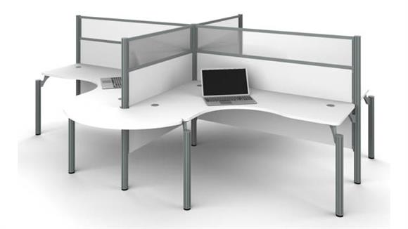 Workstations & Cubicles Bestar Four L-Desk Workstation with Rounded Corners and Acrylic Glass Privacy Panels