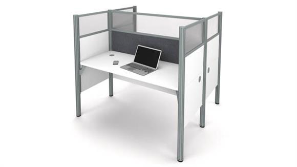 Workstations & Cubicles Bestar Double Face to Face Workstation - White with Tack Boards and Acrylic Glass Privacy Panels