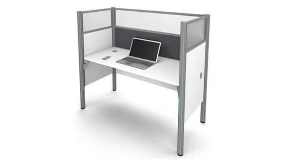 Workstations & Cubicles Bestar Simple Workstation - White with Tack Board and Acrylic Glass Privacy Panels