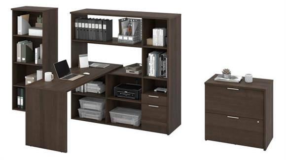 "L Shaped Desks Bestar 60""W L-Shaped Desk with Bookcase and Filing Cabinet"