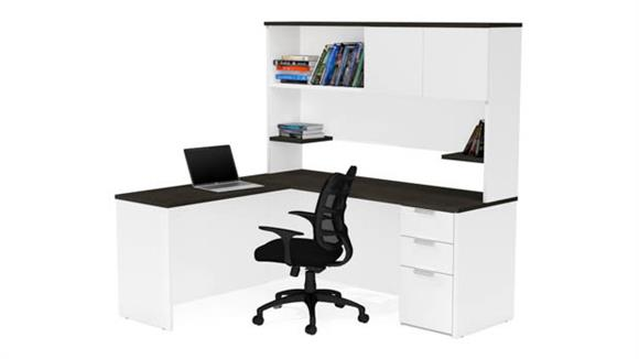 L Shaped Desks Bestar L-Shaped Desk with Hutch