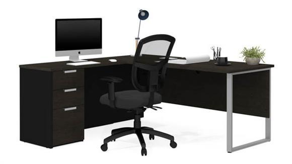 L Shaped Desks Bestar L-Shaped Desk with Metal Legs