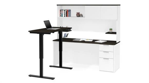 Adjustable Height Desks & Tables Bestar Height Adjustable L-Desk with Hutch