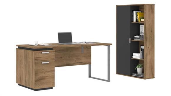 """Computer Desks Bestar 66""""W Computer Desk and Bookcase"""