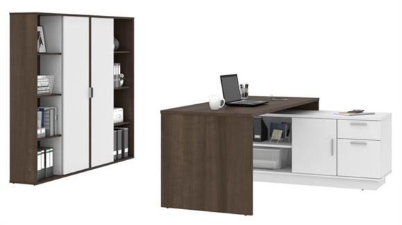 "L Shaped Desks Bestar 71""W  L-Shaped Desk and 2 Bookcases"