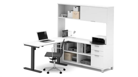 L Shaped Desks Bestar L-Desk with Hutch and  Electric Height Adjustable Table