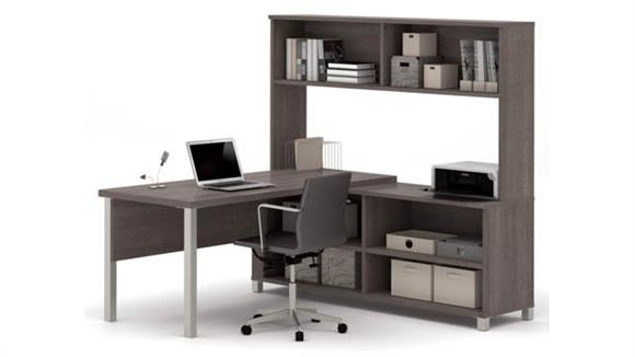 L Shaped Desks Bestar L Shaped Desk with Hutch