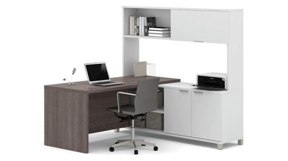 L Shaped Desks Bestar L Shaped Desk with Hutch