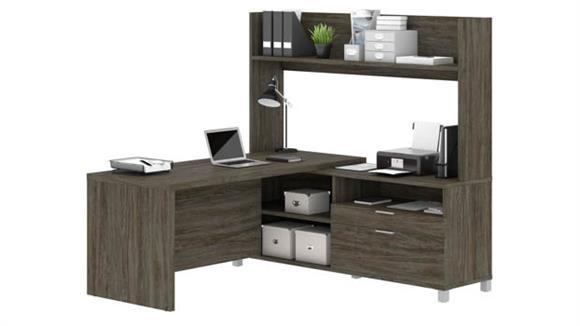 """L Shaped Desks Bestar 72"""" W L-Desk with Open Hutch"""