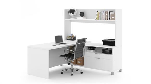 """L Shaped Desks Bestar 71""""W L-Desk with Open Hutch"""