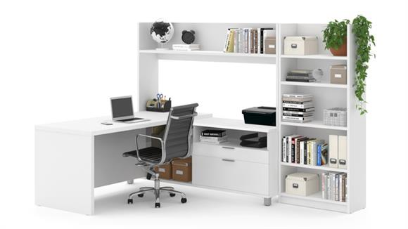 L Shaped Desks Bestar L-Desk with Bookcase