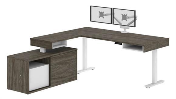 Adjustable Height Desks & Tables Bestar Height Adjustable L-Desk with Dual Monitor Arm