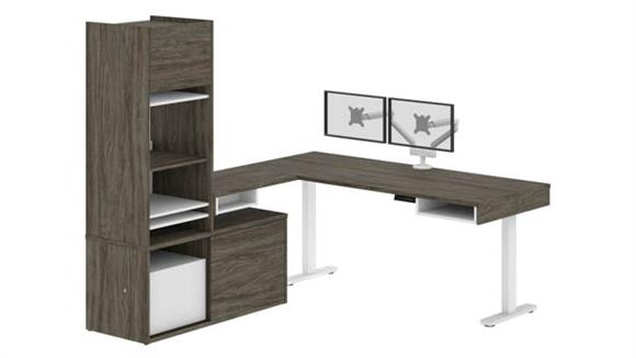Adjustable Height Desks & Tables Bestar Height Adjustable L-Desk with Storage Tower & Dual Monitor Arm