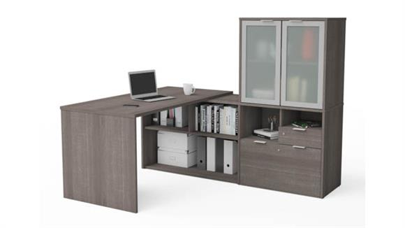 L Shaped Desks Bestar L-Desk with Frosted Glass Door Hutch