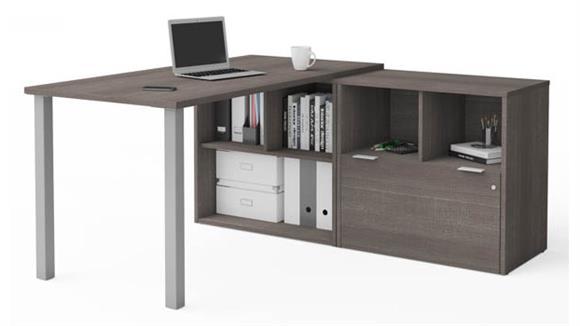 L Shaped Desks Bestar L-Desk with One File Drawer