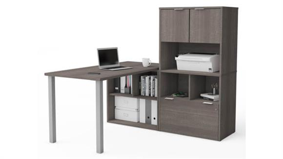 L Shaped Desks Bestar L-Desk with Hutch