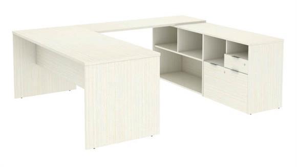 "U Shaped Desks Bestar 72""W U-Shaped Executive Desk with 2 Drawers"