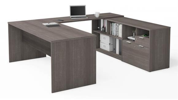 U Shaped Desks Bestar U-Desk with Two Drawers