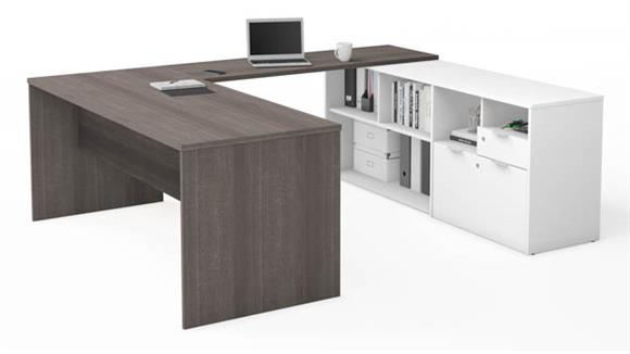 U Shaped Desks Bestar U-Desk with Two Drawers