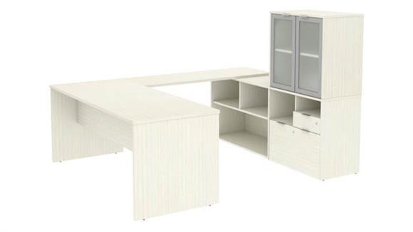 "U Shaped Desks Bestar 72""W U-Shaped Executive Desk with Frosted Glass Doors Hutch"