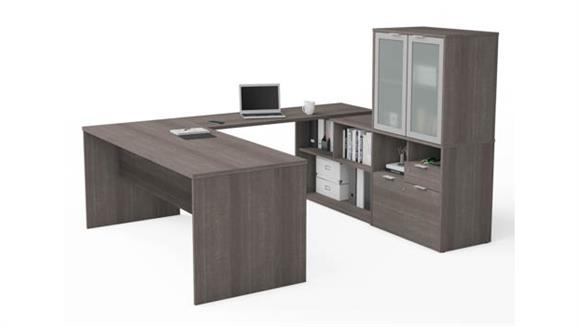 U Shaped Desks Bestar U-Desk with Frosted Glass Door Hutch