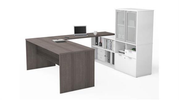 U Shaped Desks Bestar U-Desk with Frosted Glass Door Hutch