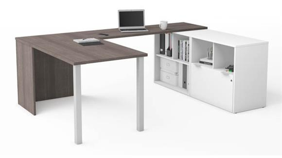 U Shaped Desks Bestar U-Desk with One File Drawer