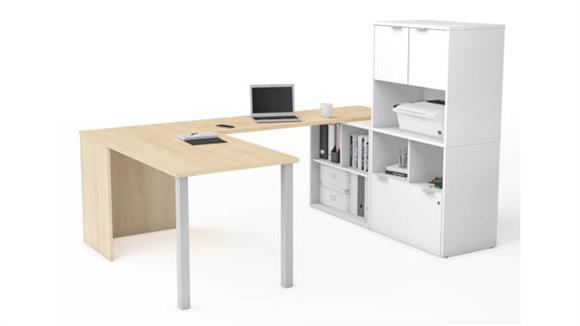 U Shaped Desks Bestar U-Desk with Hutch