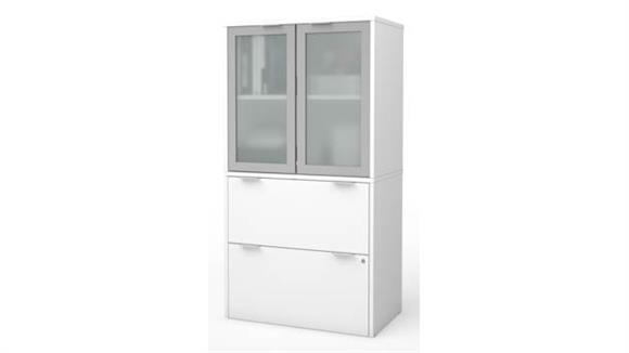 """File Cabinets Lateral Bestar 30""""W Lateral File Cabinet with Frosted Glass Doors Hutch"""