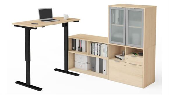 Adjustable Height Tables Bestar Height Adjustable L-Desk with Frosted Glass Door Hutch